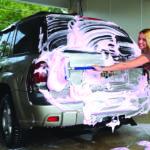 Car wash brush in use